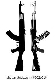Vector image of the automatic machine AK 47