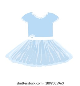 vector image of a baby princess or ballerina dress in blue with a full skirt