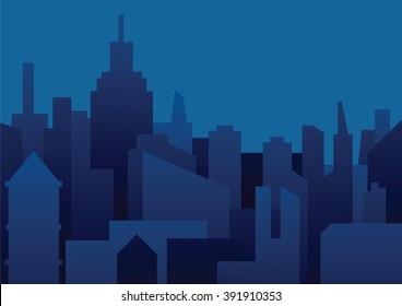 vector image of a background of night city night city in dark blue tones