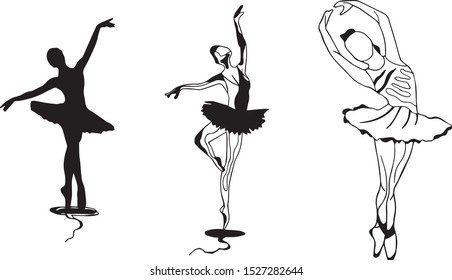 Vector image of ballerinas in different poses.