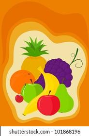 Vector image - banana, pineapple, orange, grapes, apple, pear