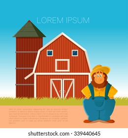 Vector image of a banner with farm and the farmer