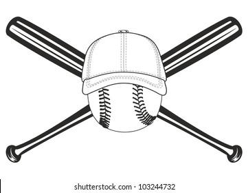 The vector image of baseball ball and crossed baseball bats