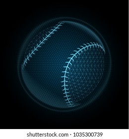 Vector image of a baseball ball made of illuminated shapes. Illustration consisting glowing lines, points and polygons in the form of a ball for softball. Abstract 3D neon wireframe concept.