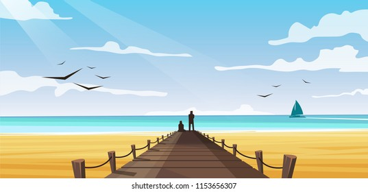vector image of the beach on the azure sea with people standing on a wooden pier
