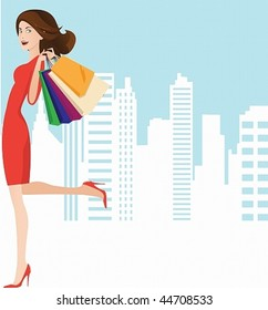 Vector image of a beautiful girl in a red dress with a successful shopping.May well arrange your text