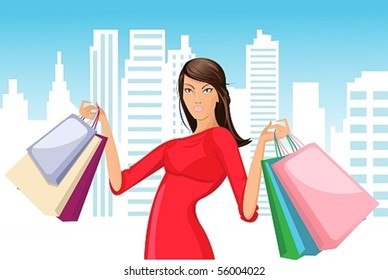 Vector image of a beautiful girl in a red dress with a successful shopping