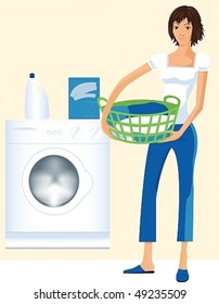 Vector image of a beautiful housewife who wants to wash clothes in the washing machine.