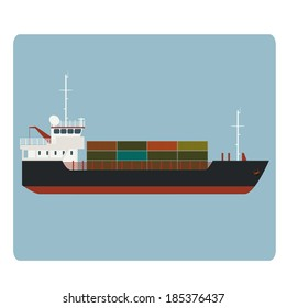 Vector image of big dry cargo ship