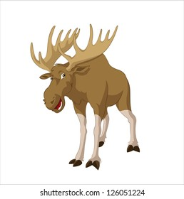 Vector image of big funny cartoon elk