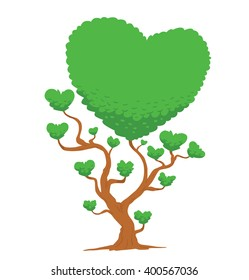 Vector image of big green tree in the shape of heart symbols. Tree with green leaves. Green foliage of tree in the shape of a big heart and a lot of little hearts. Valentine's Day. Vector illustration