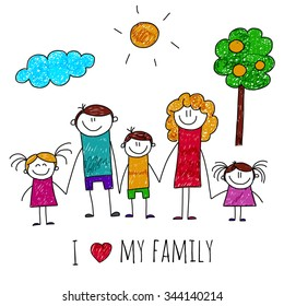 Vector image of big happy family. Kids drawing