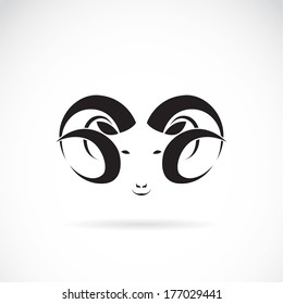 Vector image of an big ram on white background