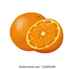 Vector image of big sweet tasty orange