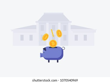 Vector image of bitcoin falling into the piggy bank. wiyh bank building on background Flat style vector illustration
