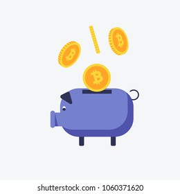 Vector image of bitcoins falling into the piggy bank. Flat style vector illustration