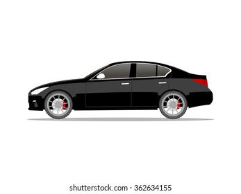 Vector image of a black car compact sedan