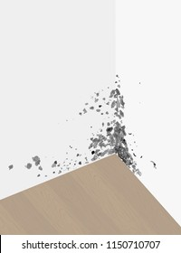 Vector image of black mold on the walls (layerwise, you can turn off the layer), and laminate.