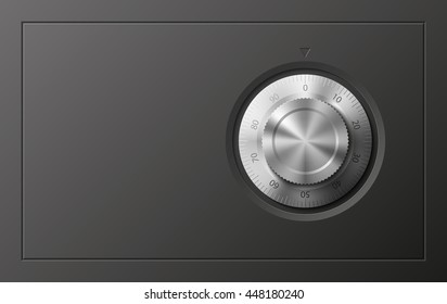 Vector Image of a Black safe. Armored box background. The door of a bank vault with a combination lock. Reliable Data Protection. Long-term savings. Deposit box icon.Protection of personal information