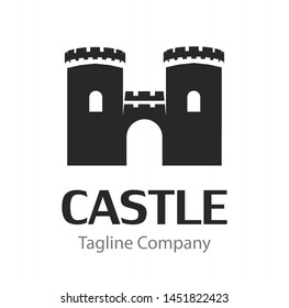 Vector image with black Silhouette of Medieval Castle isolated on white background. Wonderful illustration for Real Estate company logo. Style, rigour and reliability.