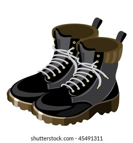 vector image of black sports tourist shoes