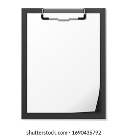 Vector image of the black tablet with paper