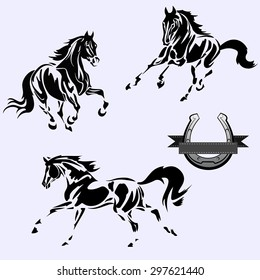 Vector image. Black and white horse on a grey background