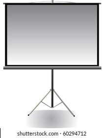 Vector image of blank projector screen with tripod