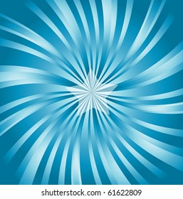 vector image of blue classical, retro style sunburst with a 3d effect and central star