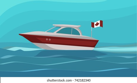 Vector image of a boat with the Canadian flag in the sea.
