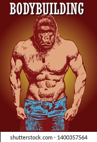 Vector image of bodybuilder athlete as big strong gorilla in artistic style.