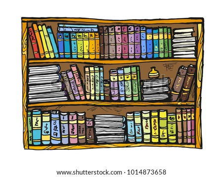 Vector Image Of A Bookshelf Drawing Books On The Shelf Can Be Used For