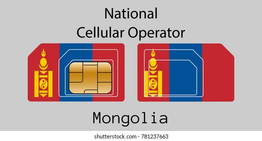 """Vector image of both sides of a sim card with lines for its division into micro and mini sim cards, plotted on it image of the flag of Mongolia and text """"National cellular operator """""""