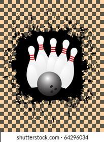 Vector image of a bowling ball striking pins