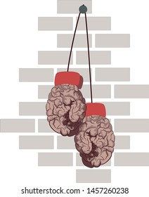 Vector image of Boxing gloves in the form of a brain