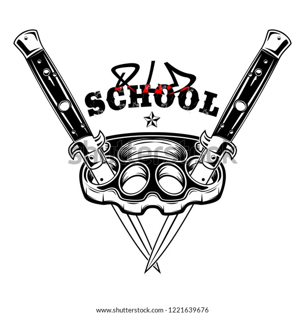 Vector image of brass knuckles and two switchblades. Street weapon. Punks. Old school. Knuckle duster. Flick knife. Illustrations for t shirt print. Black tattoo. Vector illustration.