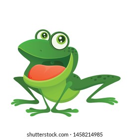 vector image of a bright cartoon cute green frog with big eyes and wide mouth, long frog legs, swamp toad, isolated on white eps 10, illustration for print, kids funny alphabet mascot with smile