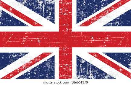 Vector Image of The British Flag. Grungy, worn, scratched style