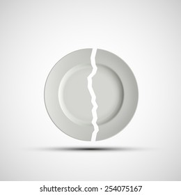 Vector image of a broken white plate
