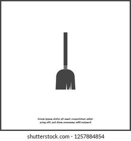 Vector image of a broom. Mop icon on white isolated background. Layers grouped for easy editing illustration. For your design.
