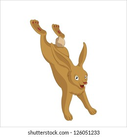 Vector image of brown funny cartoon hare