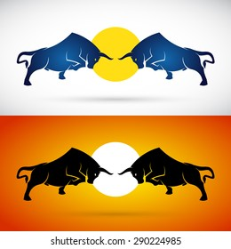 Vector image of a bull fight on white and orange background, Logo, Symbol