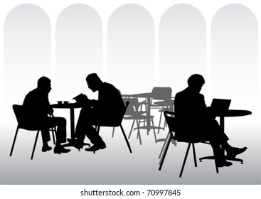 Vector image of business people for lunch at a restaurant