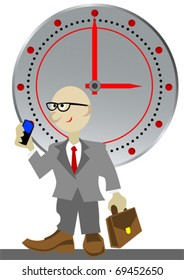 Vector image businessman against clock