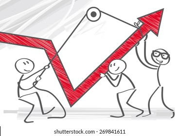 Vector Image of  businessmen pulling graph