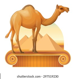 Vector image of a camel on a background of the pyramids