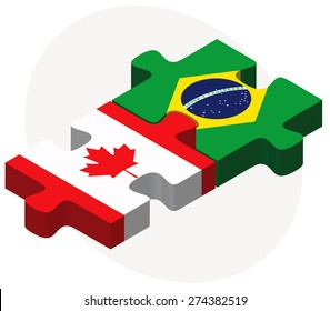 Vector Image - Canada and Brazil Flags in puzzle isolated on white background