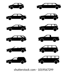vector image of car body types: hatchback, sedan, coupe, station wagon, convertible, van, limousine, crossover, SUV, pickup, minivan, minibus