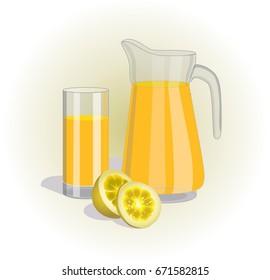 Vector image of carafe and glass of lemon juice, sliced lemon, slice of lemon