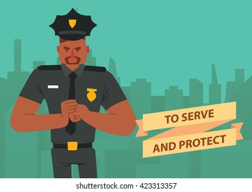 """Vector image of a card with silhouettes of buildings and with cartoon image of a black man police officer with brown hair, mustache and beard on a green background. Inscription """"To Serve and Protect""""."""